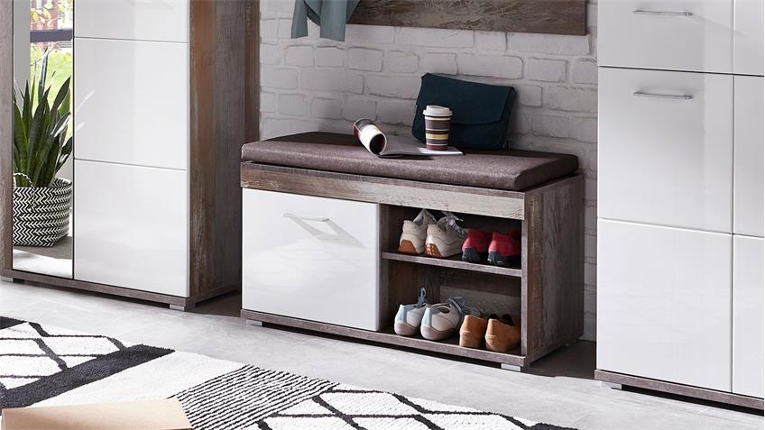 Bank CROWN-X Garderobe in weiß Hochglanz und Driftwood mit Sitzkissen