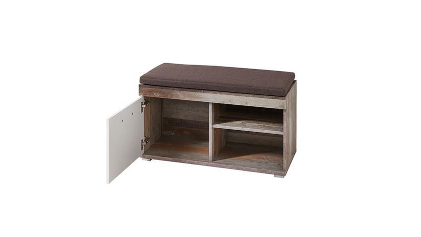 Garderobenset CROWN-X Flurmöbel Garderobe weiß Hochglanz und Driftwood