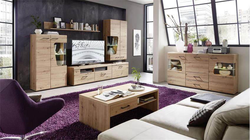 Wohnwand 80 FUNNY PLUS Anbauwand Wohnzimmer in Artisan Eiche mit LED