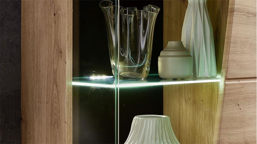 Wohnwand 82 FUNNY PLUS Anbauwand Wohnzimmer in Artisan Eiche inkl. LED