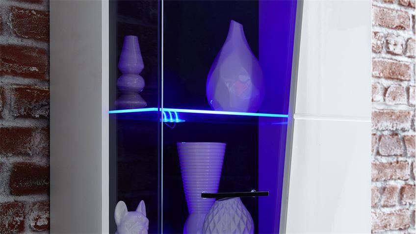 Wohnwand 81 FUNNY PLUS Wohnzimmer Anbauwand in weiß Hochglanz mit LED