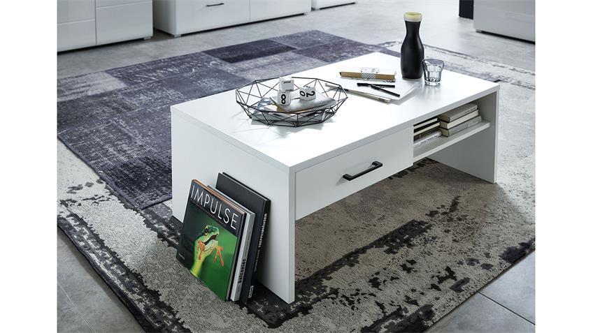 Couchtisch 02 FUNNY PLUS Beistelltisch Wohnzimmer in weiß matt 110x65
