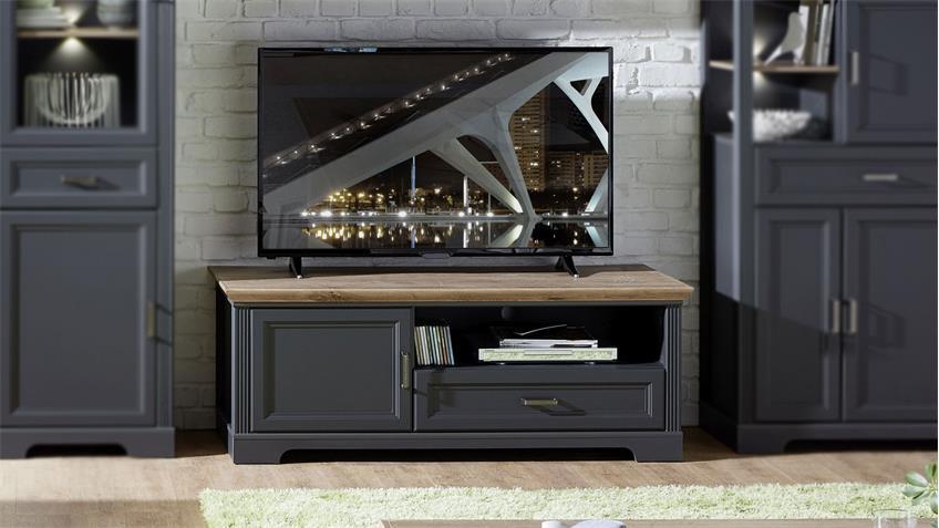 TV-Board YASE Lowboard Unterschrank in graphit Artisan Eiche 143x54 cm