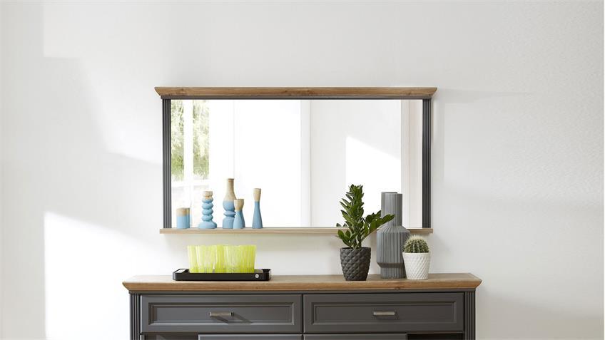 Spiegel YASE Wandspiegel Hängespiegel graphit Artisan Eiche 142x74 cm
