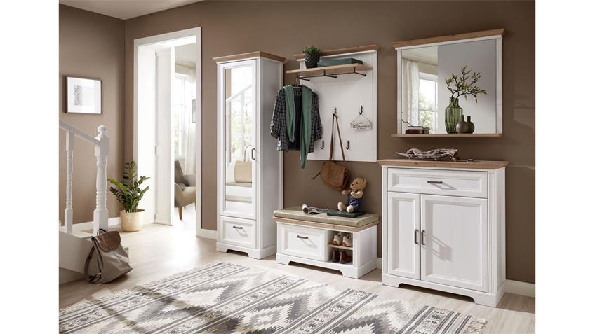 Schuhschrank YASE Garderobe in Pinie hell und Artisan Eiche 93x102 cm