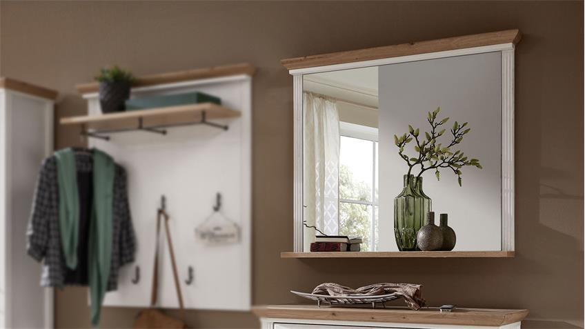 Spiegel YASE Flurmöbel Wandspiegel Pinie hell und Artisan Eiche 93x83