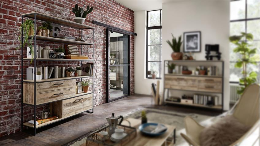 Regal ROOF Ablage Highboard mit Metallgestell in Used Style 138x192 cm