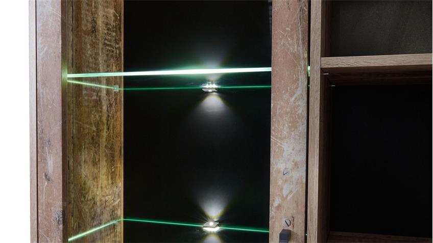 Wohnwand ROOF Anbauwand Wohnzimmer Schrankwand in used Style inkl. LED