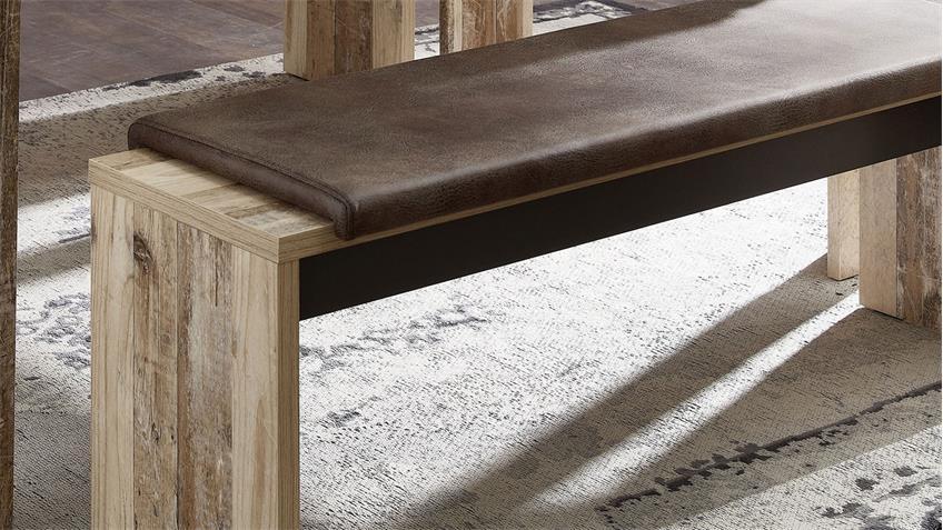 Tischgruppe ROOF Tisch ausziehbar Bank mit Kissen Esszimmer Used Style