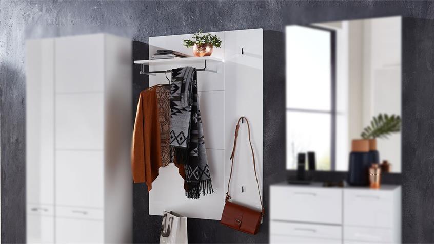 Garderobenapeel GRAZ Paneel Flurmöbel in weiß Hochglanz 80x125 cm