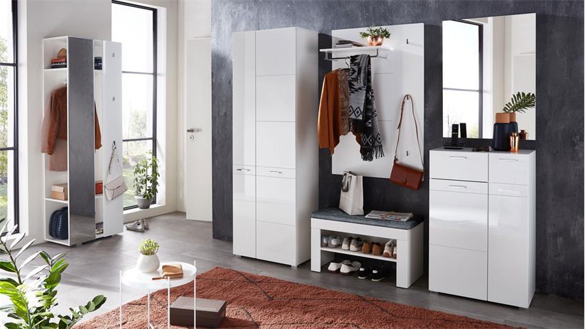 Garderobenbank GRAZ Bank Flurmöbel in weiß mit Sitzkissen grau 80x48