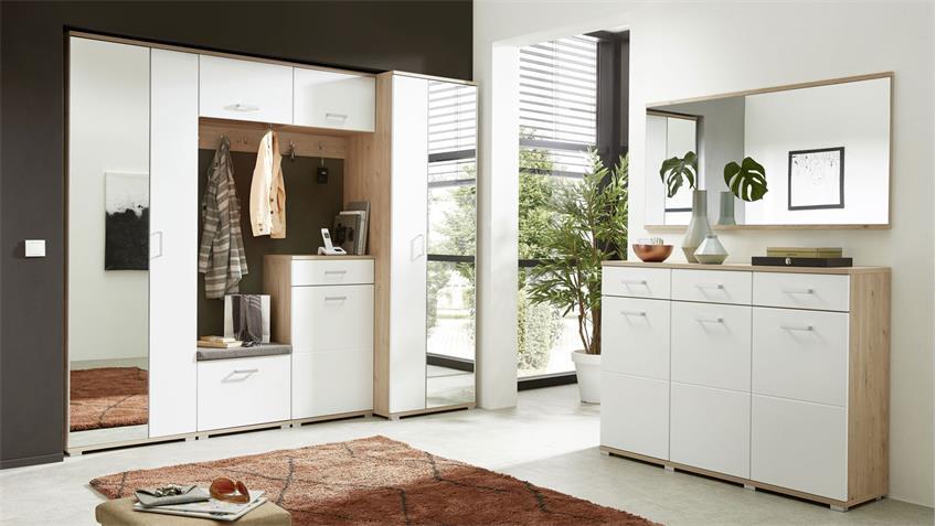 Schuhschrank ARKONA Garderobe in Lack weiß supermatt und Eiche 70x219