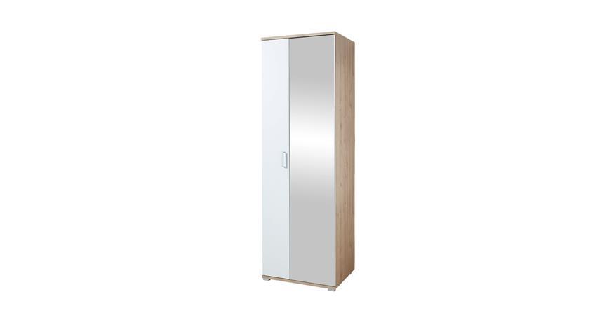 Garderobenschrank ARKONA Garderobe in Lack weiß supermatt Eiche 70x219