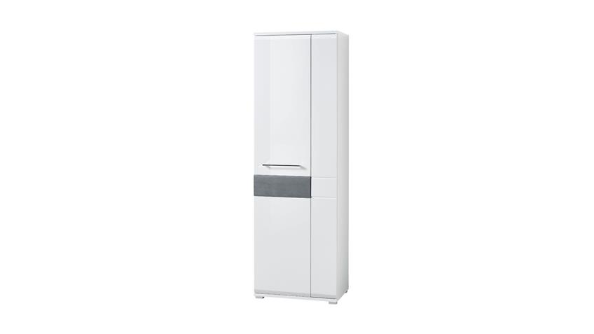 Garderobenschrank BILBAO Garderobe in weiß Hochglanz und Beton 65x202