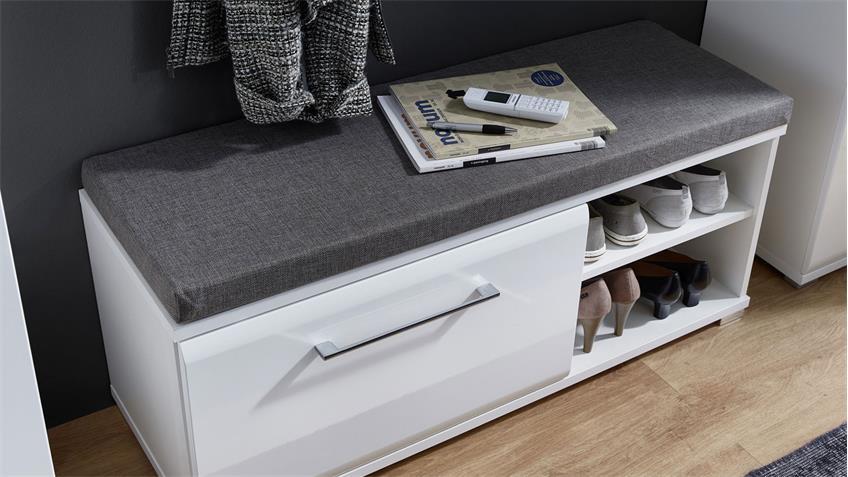 Garderobenset BILBAO Flurmöbel in weiß Hochglanz und Beton 285x202 cm