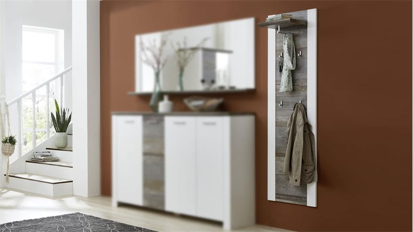 Garderobenpaneel MATEO Paneel weiß Driftwood 48x170 cm