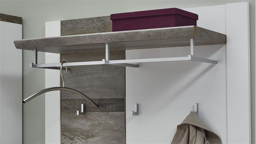 Garderobenpaneel MATEO Paneel in weiß Driftwood 90x70