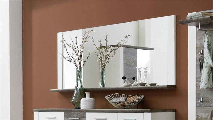 Spiegel MATEO Wandspiegel weiß und Driftwood 163x70 cm