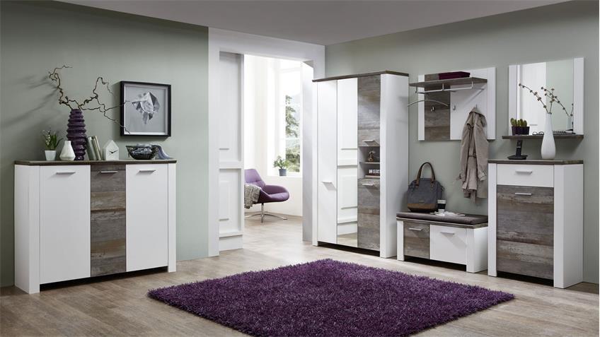 Bank Mateo Schuhkommode in weiß und Driftwood 90x50 cm