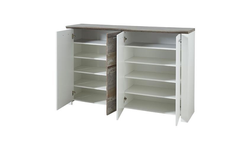 Garderobenset 4 MATEO Dielenmöbel in weiß und Driftwood