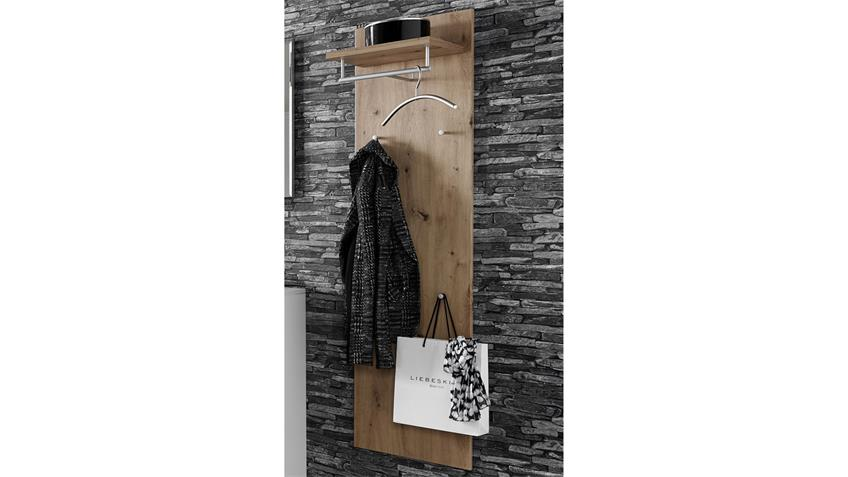 Garderobenpaneel TICONA Artisan Eiche Metall silber matt