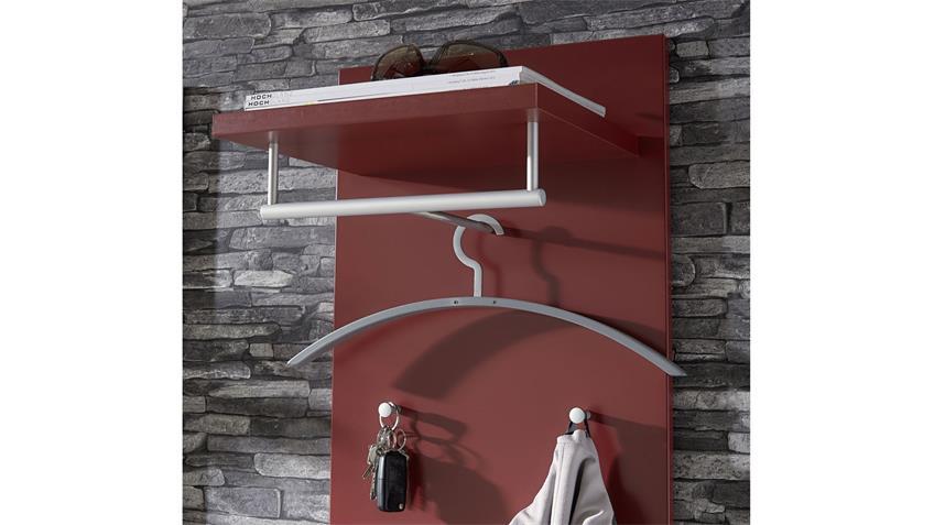 Garderobenset TICONA 8 weiß rot lackiert Flurmöbel 4-teilig