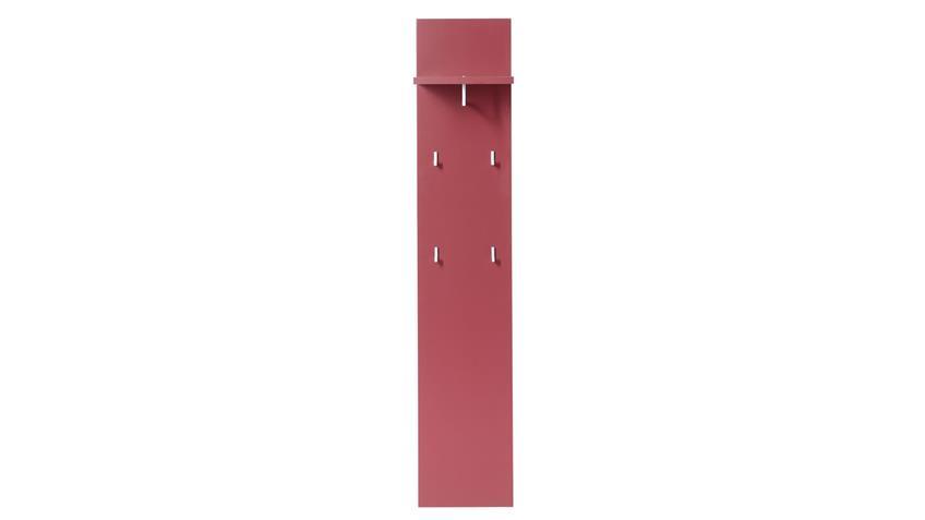 Garderobenpaneel Cayuga rot Front lackiert mit Kleiderstange