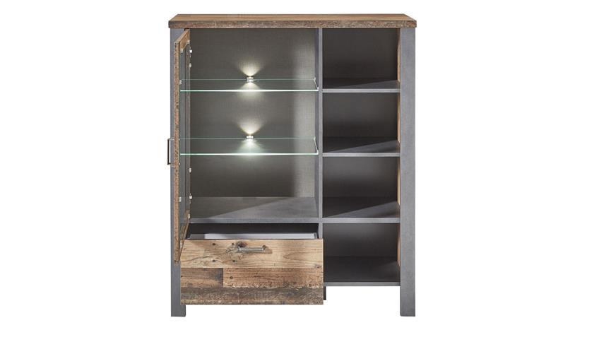 Highboard CARDIFF Used Style Dark Matera Kommode LED