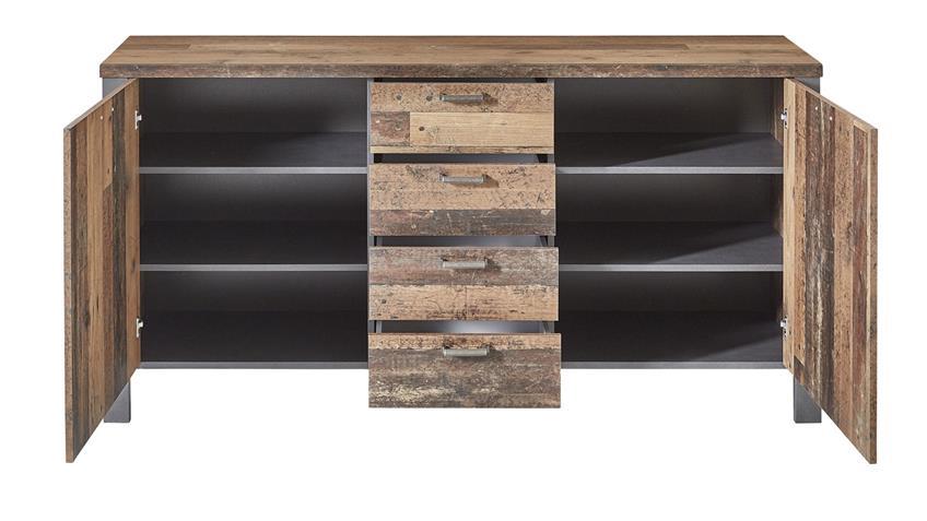 Sideboard CARDIFF Used Style Dark Matera Kommode 2trg.