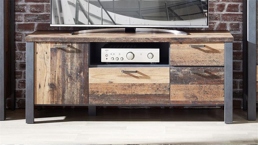 Lowboard CARDIFF Used Style Dark Matera TV-Board 154 cm