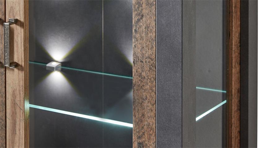 Vitrine CARDIFF Highboard Glas Used Style Dark Matera LED