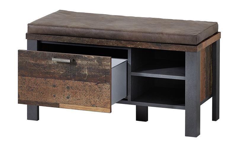 Sitzbank CARDIFF Schuhbank Used Style Dark Matera Metall