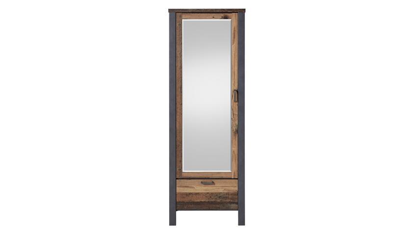 Garderobenschrank CARDIFF Used Style Dark Matera Spiegel