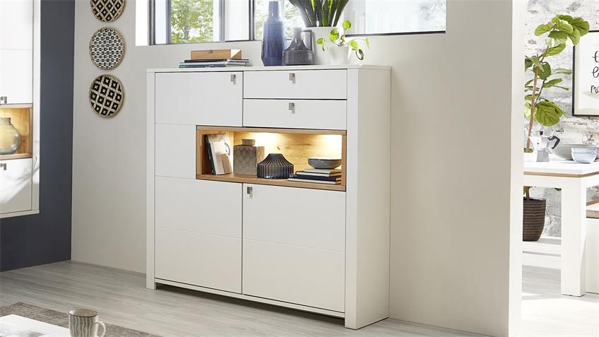 Highboard SERPIO Kommode weiß matt Wildeiche teilmassiv