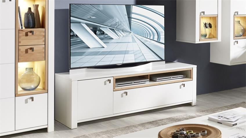 Lowboard SERPIO TV-Board weiß matt Wildeiche teilmassiv