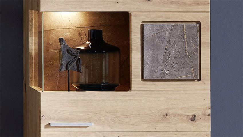 Vitrine SPIDER PLUS 1 Artisan Eiche Caspio Glas inkl. LED