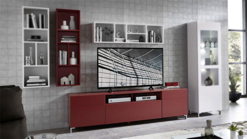 TV-Board Kazo TV-Schrank Lowboard modern rot matt 195 cm