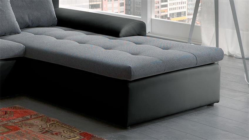 Ecksofa PRATO schwarz grau inkl. Schlaffunktion Bettkasten
