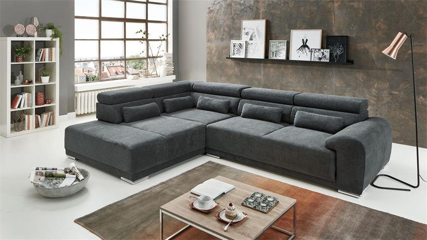 Ecksofa PADUA Sofa L Stoff grau inkl. Kopfteilverstellung