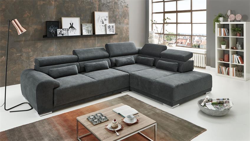 Ecksofa PADUA Sofa R Stoff grau inkl. Kopfteilverstellung