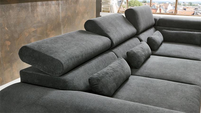 Ecksofa PADUA R Stoff grau motorische Sitztiefenverstellung