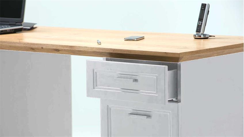 Schreibtisch jahnke classik desk 150 wildeiche lack wei matt for Schreibtisch jahnke