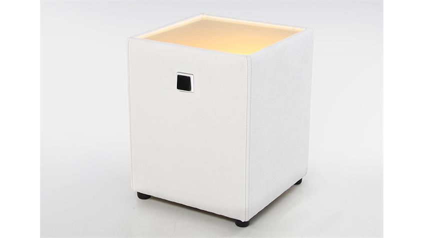 Nachtkommode LIGHTNESS Microfaser weiß inkl. Beleuchtung