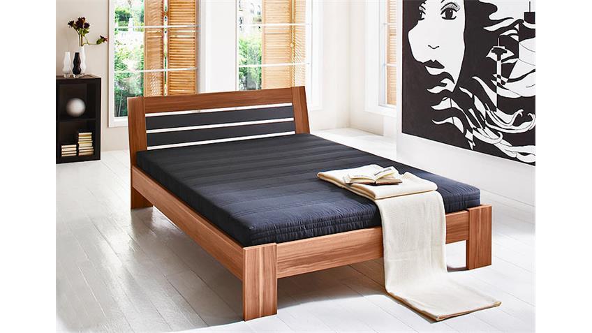 Bett INTRO Futonbett in Nussbaum und schwarz inkl Matratze