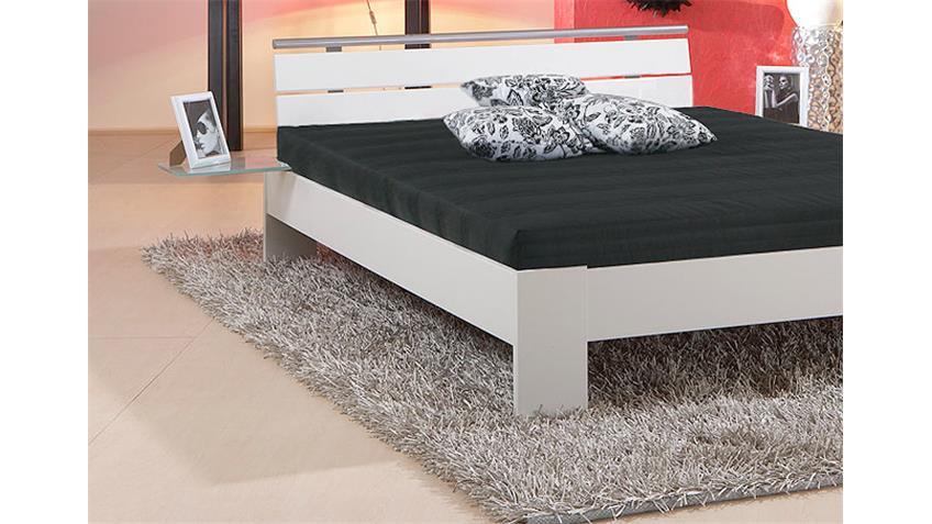 Bett SLEEP Weiß inkl. Rollrost und Matratze 140x200 cm