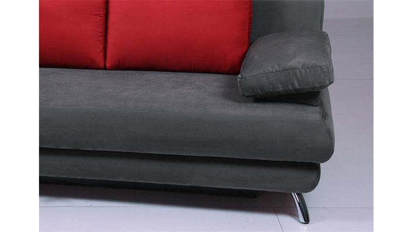 Doppelschlafsofa ALDO mit Bettfunktion in anthrazit rot