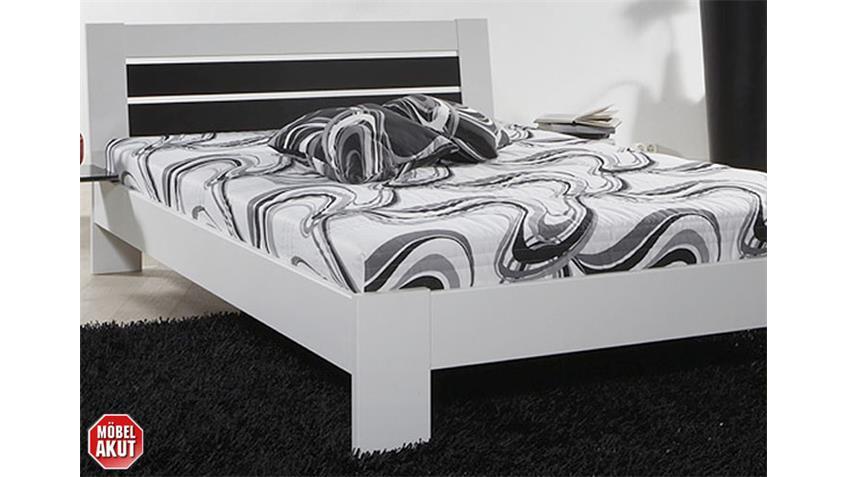 Bett II INTRO Futonbett weißes Gestell schwarzes Kopfteil