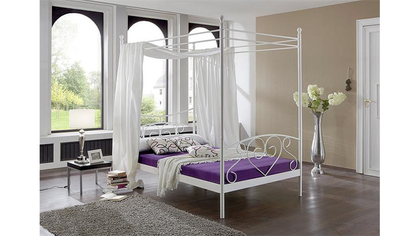 metallbett lisa himmelbett mit wei em metallgestell 120x200. Black Bedroom Furniture Sets. Home Design Ideas