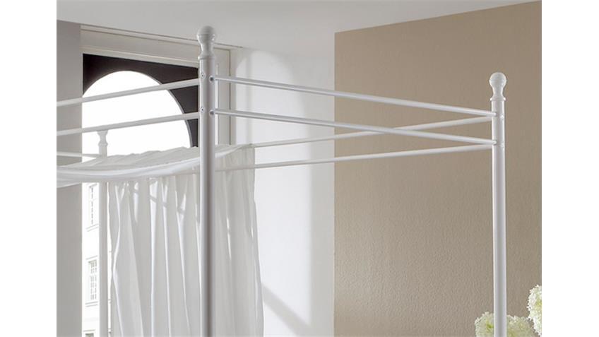 Metallbett LISA Himmelbett Gestell in weiß 120 x 200 cm