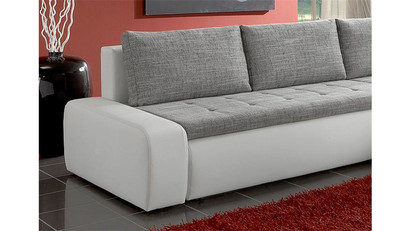 Ecksofa ALFA in weiß und grau mit Gästebett und Bettkasten